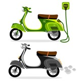 Electric moped  and  a scooter on a white background, vector