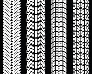 White tire prints on a black background, vector illustration