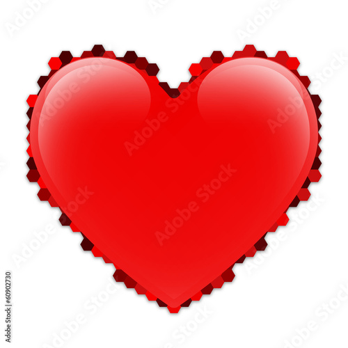 Isolated red vector heart with a border of hexagons