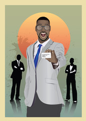 Excited businessman in suit showing card