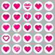 Pink Hearts Grey Background