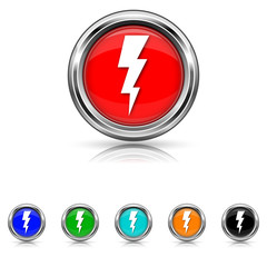Lightning icon - six colours set