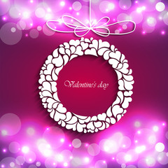 Valentine's Day.Abstract circle and curve background Vector.