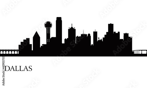 Dallas city skyline silhouette background