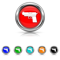 Gun icon - six colours set