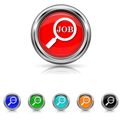 Search for job icon - six colours set