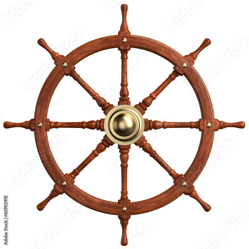 Wooden Ship Wheel isolated. Clipping paths