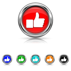 Thumb up icon - six colours set