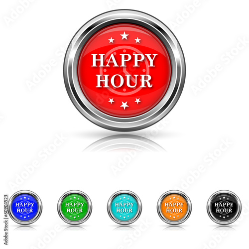 Happy hour icon - six colours set