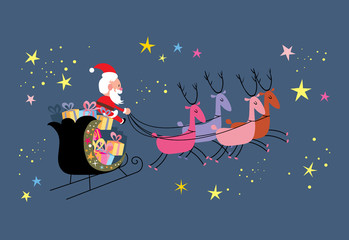 Santa and his sleigh flying
