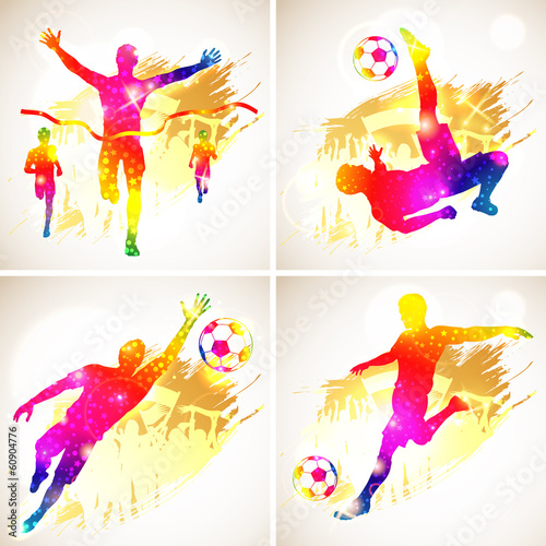Soccer and Winner Silhouette