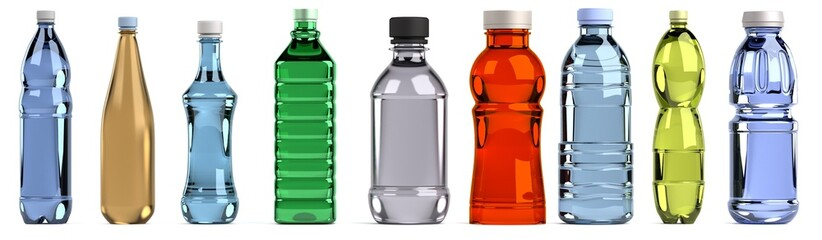 realistic 3d render of bottles set