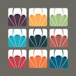 Set of paragliding vectors in colour variants