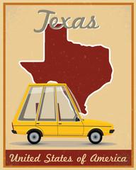 Texas road trip vintage poster