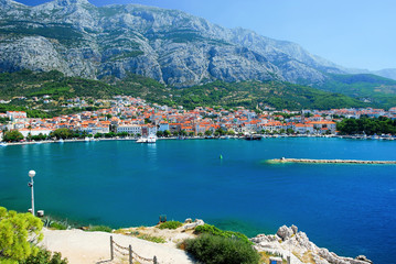 Panorama of Makarska and Adriatic sea,Croatia