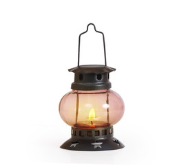 burning kerosene lamp