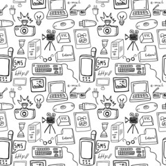Technology doodles seamless pattern