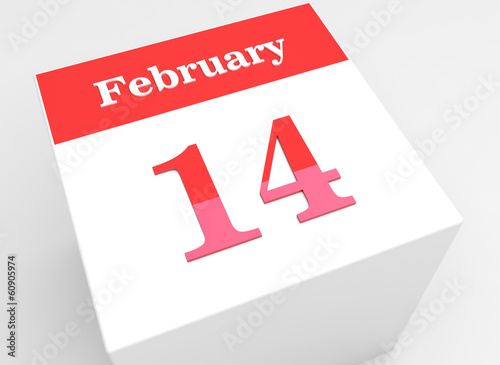 Happy Valentine's Day on February 14th. 3D calendar icon
