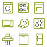 Home appliances icons, green line contour series