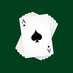 Ace of Spades on green background