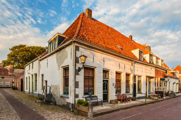 Typical old town houses in Elburg The Netherlands