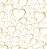 Seamlessly golden hearts on white background