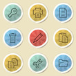 Document web icons, color vintage stickers