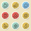 Fruits web icons, color vintage stickers