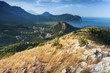 Montenegro. Coastal mountain landscape with dry grass on rock