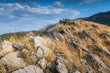 Montenegro. Mountain landscape with dry grass growing on rock