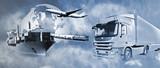 Transport mit LKW, Schiff, Flugzeug und Bahn - 60908191
