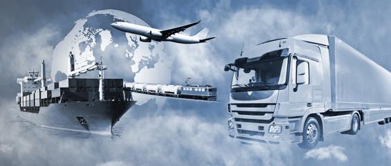 Transport mit LKW, Schiff, Flugzeug und Bahn