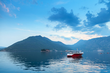 Blue morning landscape in Bay of Kotor, Montenegro
