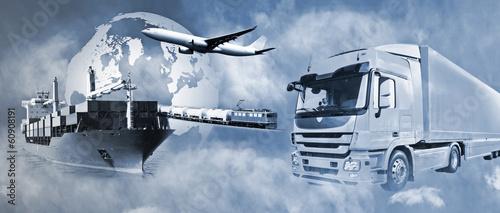 Leinwanddruck Bild Transport mit LKW, Schiff, Flugzeug und Bahn