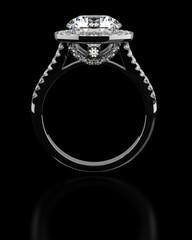 Diamond ring on black