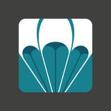 Flat icon with a open parachute poster