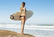 Teenage surfer girl checking the waves