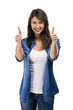 Beautiful woman with thumbs up, isolated over white background