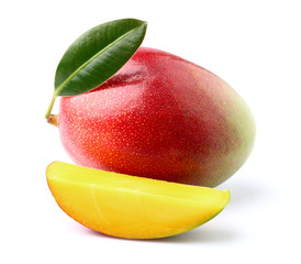 Ripe mango with leaf