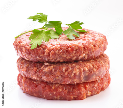 raw hamburger meat isolated on white