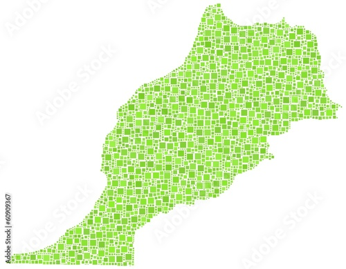 Morocco - Africa - in a mosaic of green squares
