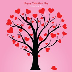 Valentine Tree with Love Heart, Vector Illustration EPS 10.