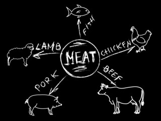 Chalk meat infographic menu
