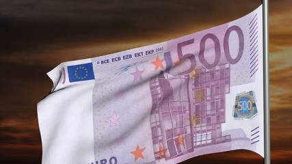 500 euro flag 3d animation on sunset background