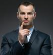 Portrait of making forefinger gesture manager