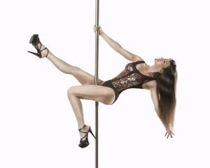 Young startling slim pole dance woman