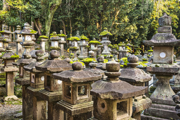 Japanese Stone Lanterns in Nara, Japan