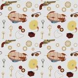 Steampunk, retro seamless pattern