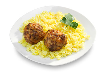 Fried meatballs and rice