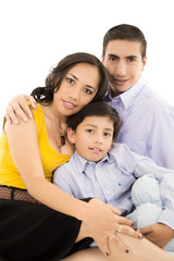 Happy hispanic family portrait smiling together
